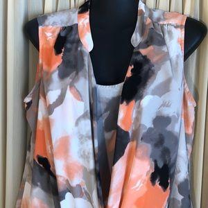 Stunning Alfani Blouse size 8 Orange & Grey Medium